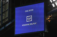 The large screen at Chelsea FC informs the fans that Var is undertaking a goal review during Chelsea vs AFC Ajax, UEFA Champions League Football at Stamford Bridge on 5th November 2019