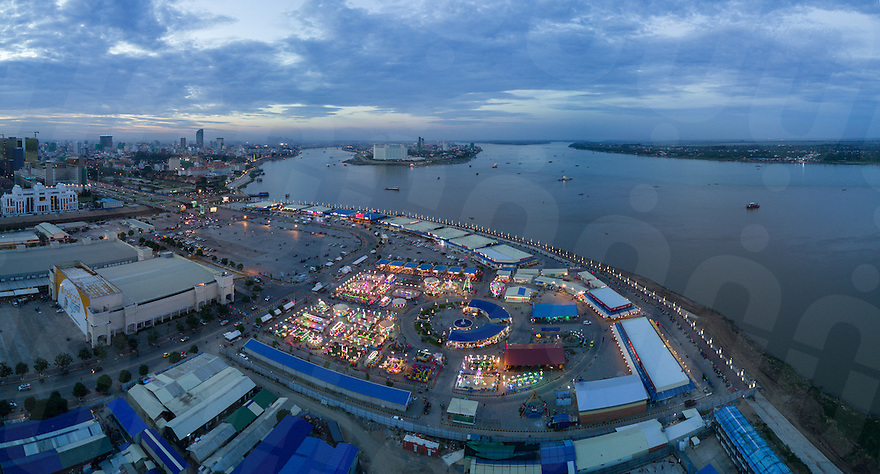 January 18, 2017 - Phnom Penh (Cambodia). Panoramic aerial view of the amusement park of Koh Pich. © Thomas Cristofoletti / Ruom