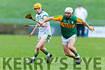 A tussle for possession between Mikey Boyle of  Kerry and Liam Langton of Offaly in the meeting in Div 2 of the National Hurling League in Austin Stack Park on Sunday.