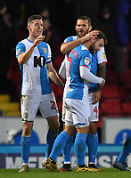 Blackburn Rovers' Adam Armstrong is congratulated on scoring his team's second goal<br /> <br /> Photographer Dave Howarth/CameraSport<br /> <br /> The EFL Sky Bet Championship - Blackburn Rovers v Hull City - Tuesday 11th February 2020 - Ewood Park - Blackburn<br /> <br /> World Copyright © 2020 CameraSport. All rights reserved. 43 Linden Ave. Countesthorpe. Leicester. England. LE8 5PG - Tel: +44 (0) 116 277 4147 - admin@camerasport.com - www.camerasport.com