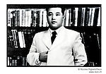 NR00746/ Propaganda portrait of Kim Il Sung, pausing like Napoleon in his study (1946) and used for the annual anniversary of his birth 15 April. Although he deceased in 1994, he remains the President for Life of North Korea. This year North Koreans will celebrate the 10th anniversary of his death...Portrait de Kim Il Sung, pausant comme Napoléon dans son étude (1946), utilisé par la propagande pour la célébration annuelle de son anniversaire. Bien qu'il soit décédé en 1994, il demeure le Président à Vie de la Corée du Nord. Cette année, les Nord-Coréens célèbrerons le 10ième anniversaire de sa mort...Pyongyang, Coree du Nord, archives nord-coréennes...©Nicolas Righetti/Rezo
