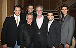 Matt Bogart, Frankie Valli, Jeremy Kushnier, Bob Gaudio, Jarrod Spector and Drew Gehling attending the reception for Frankie Valli and the Four Seasons  50th Anniversary Celebration & Broadway debut in 'The One. The Only. The Original.' at the Broadway Theatre on 10/19/2012 in New York City.