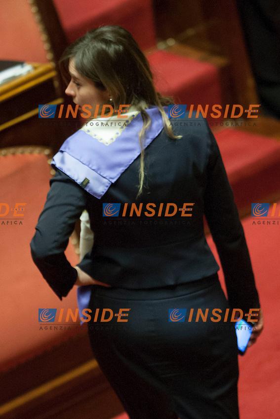 Maria Elena Boschi<br /> Roma 21-01-2015 Senato. Voto sugli emendamenti del ddl n. 1385, recante disposizioni in materia di elezione della Camera dei deputati, anche soprannominato Italicum.<br /> Photo Samantha Zucchi Insidefoto