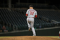 Scottsdale Scorpions relief pitcher Wyatt Strahan (32), of the Cincinnati Reds organization, delivers a pitch during an Arizona Fall League game against the Mesa Solar Sox at Sloan Park on October 10, 2018 in Mesa, Arizona. Scottsdale defeated Mesa 10-3. (Zachary Lucy/Four Seam Images)