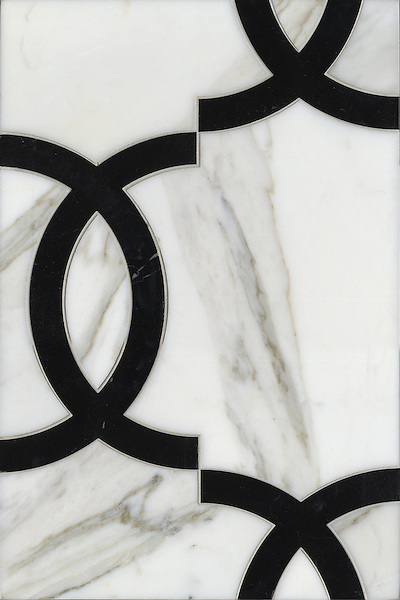 """Name: Seine<br /> Style: Contemporary<br /> Product Number: CB0838SEINE (12""""x18"""")<br /> Description: Seine , a water jet natural stone mosaic, in Calacatta Tia, Nero Marquina polished."""