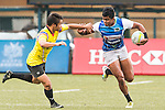 Thuwan Reeza Raffaideen (r) of Sri Lanka runs with the ball during the match between Sri Lanka and Malaysia of the Asia Rugby U20 Sevens Series 2016 on 12 August 2016 at the King's Park, in Hong Kong, China. Photo by Marcio Machado / Power Sport Images