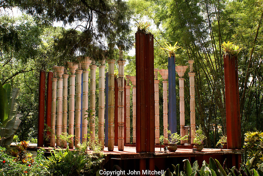 Concrete bambbo shaped columns at the Peristyle house, Las Pozas, the surrealistic sculpture garden created by Edward James  near Xilitla, Mexico