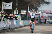 In 1 of her final races on Euro soil (this season), Katie Kompton (USA) wins the women's race of the 2017 Soudal Classics Leuven (Belgium)