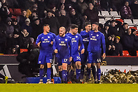 Cardiff City celebrate the equaliser during the Sky Bet Championship match between Sheff United and Cardiff City at Bramall Lane, Sheffield, England on 2 April 2018. Photo by Stephen Buckley / PRiME Media Images.