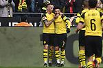 13.04.2019, Signal Iduna Park, Dortmund, GER, DFL, 1. BL, Borussia Dortmund vs 1. FSV Mainz 05, DFL regulations prohibit any use of photographs as image sequences and/or quasi-video<br /> <br /> im Bild Jadon Sancho (#7, Borussia Dortmund) jubelt nach seinem Tor zum 2:0 mit Marius Wolf (#27, Borussia Dortmund) <br /> <br /> Foto © nph/Mauelshagen
