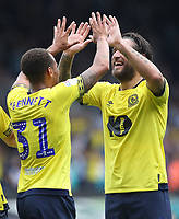 Blackburn Rovers' Elliott Bennett and Blackburn Rovers' Danny Graham celebrate there sides second goal<br /> <br /> Photographer Rachel Holborn/CameraSport<br /> <br /> The EFL Sky Bet Championship - Ipswich Town v Blackburn Rovers - Saturday 4th August 2018 - Portman Road - Ipswich<br /> <br /> World Copyright &copy; 2018 CameraSport. All rights reserved. 43 Linden Ave. Countesthorpe. Leicester. England. LE8 5PG - Tel: +44 (0) 116 277 4147 - admin@camerasport.com - www.camerasport.com