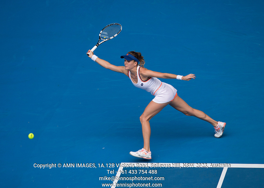 AGNIESZKA RADWANSKA (POL)<br /> Tennis - Australian Open - Grand Slam -  Melbourne Park -  2014 -  Melbourne - Australia  - 18th January 2014. <br /> <br /> &copy; AMN IMAGES, 1A.12B Victoria Road, Bellevue Hill, NSW 2023, Australia<br /> Tel - +61 433 754 488<br /> <br /> mike@tennisphotonet.com<br /> www.amnimages.com<br /> <br /> International Tennis Photo Agency - AMN Images