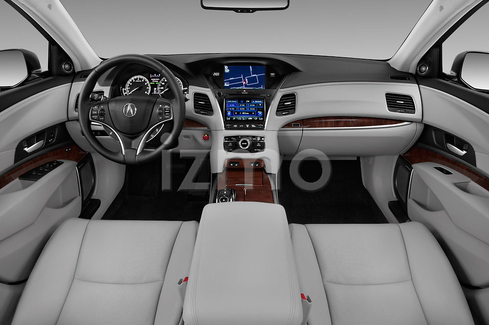 Stock photo of straight dashboard view of 2016-2017 Acura RLX Sport Hybrid 4 Door Sedan