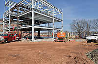 West and South Elevations during steel erection. Central Connecticut State University. New Academic Building. CT-DCS Project No: BI-RC-324 Architect: Burt Hill Kosar Rittelmann Associates. Contractor: Gilbane, Inc.