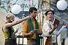 "August 20, 2012; Actors, from left, Ed Wasserman as Snout, Spencer Neiman as Flute and John Corr as Peter Quince perform in the Shakespeare play, ""A Midsummer Night's Dream"" on the Main Building Quad. Photo by Barbara Johnston/University of Notre Dame"