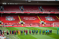 5th July 2020, Anfield, Liverpool, England;  Aston Villa players give the Liverpool team a guard of honour before the Premier League match between Liverpool and Aston Villa at Anfield in Liverpool