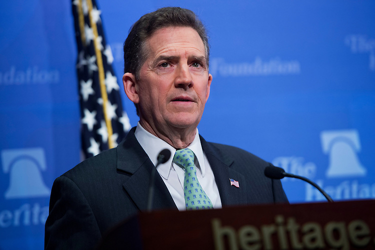 "UNITED STATES - MAY 6: Former Sen. Jim DeMint, R-S.C., president of the Heritage Foundation, conducts a news conference at the Foundation's offices to discuss the U.S. Senate's ""Gang of Eight"" immigration bill and how the amnesty portion would have negative effects on the economy. (Photo By Tom Williams/CQ Roll Call)"
