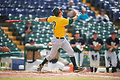 Siena Saints center fielder Dan Swain (22) at bat during a game against the Pittsburgh Panthers on February 24, 2017 at Historic Dodgertown in Vero Beach, Florida.  Pittsburgh defeated Siena 8-2.  (Mike Janes/Four Seam Images)