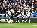 Ayoze Perez of Newcastle United celebrates scoring his teams first goal of the game during the EFL Championship match at St James' Park Stadium, Newcastle upon Tyne. Picture date: May 7th, 2017. Pic credit should read: Jamie Tyerman/Sportimage