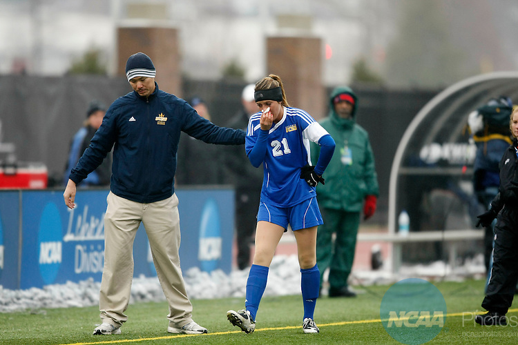 04 DEC 2010:  Grand Valley State University takes on the University of California- San Diego during the Division II Women's Soccer Championship held at Owsley B. Frazier Stadium on the Bellarmine University campus in Louisville, KY.  Jamie Schwaberow/NCAA Photos