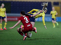 13th February 2020; Deva Stadium, Chester, Cheshire, England; Womens Super League Football, Liverpool Womens versus Arsenal Womens;  Leighanne Robe of Liverpool Women high tackles  Beth Mead of Arsenal Women for which she received a yellow card