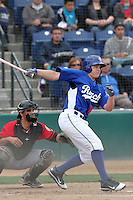 Blake Smith #19 of the Rancho Cucamonga Quakes bats against the High Desert Mavericks at The Epicenter in Rancho Cucamonga,California on May 8, 2011. Photo by Larry Goren/Four Seam Images