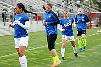 Piscataway, NJ - Sunday April 30, 2017: Sydney Leroux, Nicole Barnhart, Brittany Taylor, Cat Parkhill during a regular season National Women's Soccer League (NWSL) match between Sky Blue FC and FC Kansas City at Yurcak Field.