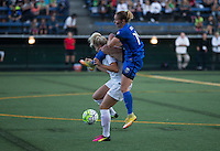 Seattle, WA - Saturday July 16, 2016: Abigail Dahlkemper, Manon Melis during a regular season National Women's Soccer League (NWSL) match between the Seattle Reign FC and the Western New York Flash at Memorial Stadium.