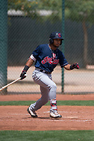 Cleveland Indians center fielder George Valera (32) starts down the first base line during an Extended Spring Training game against the Arizona Diamondbacks at the Cleveland Indians Training Complex on May 27, 2018 in Goodyear, Arizona. (Zachary Lucy/Four Seam Images)