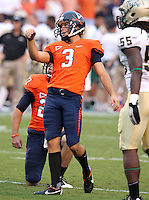 Sept. 3, 2011 - Charlottesville, Virginia - USA; Virginia Cavaliers kicker Robert Randolph (3) kicks the ball during an NCAA football game against William & Mary at Scott Stadium. Virginia won 40-3. (Credit Image: © Andrew Shurtleff