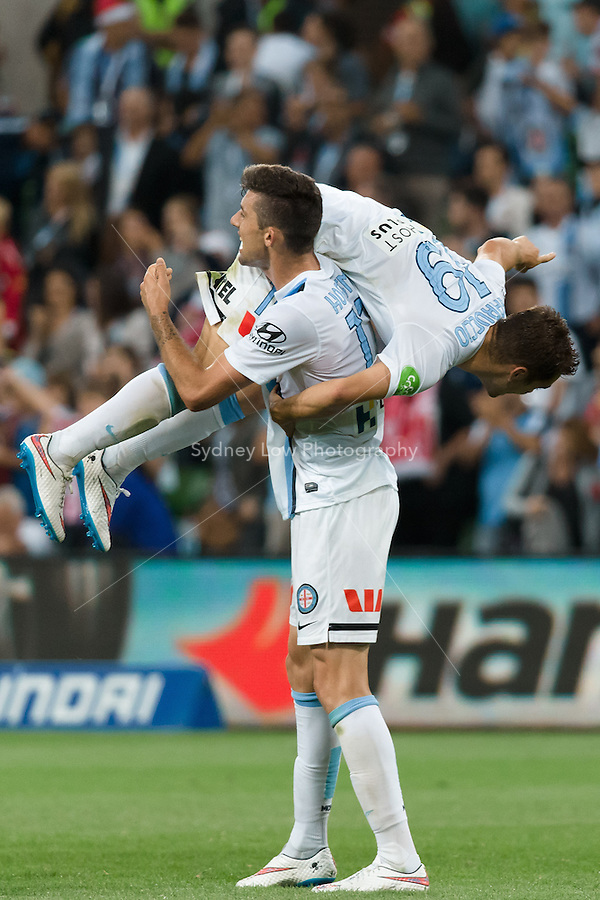Benjamin GARUCCIO and Jason HOFFMAN of Melbourne City celebrate their win in round 11 A-League match between Melbourne City and Melbourne Victory at AAMI Park in Melbourne, Australia during the 2014/2015 Australian A-League season. City def Victory 1-0