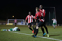 George Purcell of Hornchurch scores the fifth goal for his team and celebrates with his team mates during AFC Hornchurch vs Waltham Abbey, Bostik League Division 1 North Football at Hornchurch Stadium on 13th January 2018