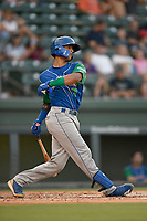 Catcher M.J. Melendez (7) of the Lexington Legends follows through on a swing during a game against the Greenville Drive on Saturday, September 1, 2018, at Fluor Field at the West End in Greenville, South Carolina. Greenville won, 9-6. (Tom Priddy/Four Seam Images)