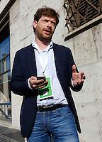 Il deputato Giuseppe Civati arriva all'Assemblea Nazionale del Partito Democratico per la seconda giornata di lavori, a Roma, 21 settembre 2013.<br /> Lawmaker Giuseppe Civati arrives for the second day of the Italian Democratic Party's National Assembly in Rome, 21 September 2013.<br /> UPDATE IMAGES PRESS/Riccardo De Luca