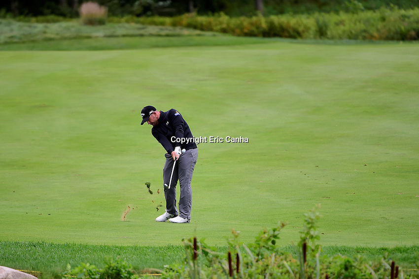 Monday, September 5, 2016:  Scott Brown hits his approach shot on the 5th fairway during the final round of the Deutsche Bank Championship tournament held at the Tournament Players Club, in Norton, Massachusetts.  Rory McIlroy of Northern Ireland wins the Deutsche Bank Championship with a final tournament score of -15 269.   Eric Canha/Cal Sport Media