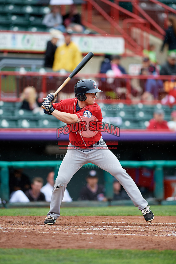New Hampshire Fisher Cats center fielder Andrew Guillotte (1) at bat during a game against the Erie SeaWolves on June 20, 2018 at UPMC Park in Erie, Pennsylvania.  New Hampshire defeated Erie 10-9.  (Mike Janes/Four Seam Images)