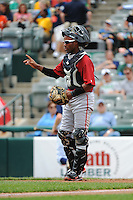 Altoona Curve catcher Carlos Paulino (14) during game against the Trenton Thunder at ARM & HAMMER Park on July 24, 2013 in Trenton, NJ.  Altoona defeated Trenton 4-2.  Tomasso DeRosa/Four Seam Images