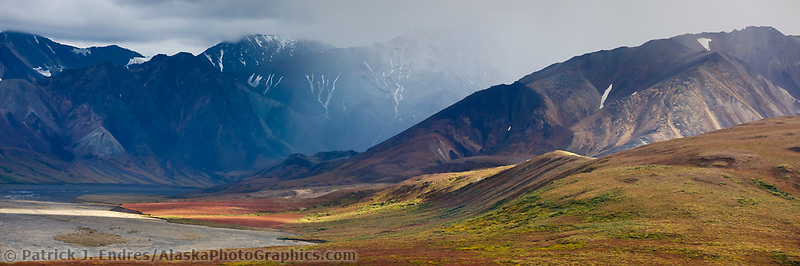 Autumn colors over the tundra, East fork river, Denali National Park, Interior, Alaska.