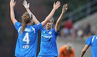 Jordan Angeli and Leslie Osborne celebrate after Angeli goal in 4-0 Breakers win.