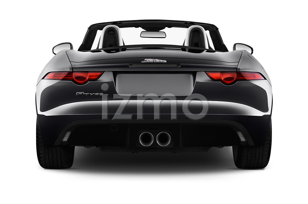 Straight rear view of a 2018 Jaguar F-Type Base 2 Door Convertible stock images