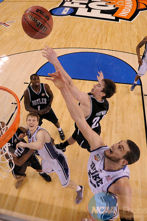 5 APR 2010: Gordon Hayward (20) from Butler battles against Brian Zoubek (55) from Duke for control of a rebound during the Men's Basketball Championship held at Lucas Oil Stadium in Indianapolis, IN. Duke went on to defeat Butler 61-59 to claim the championship title. Chris Steppig/NCAA Photos