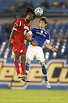 07 December 2012: Indiana's Femi Hollinger-Janzen (6) and Creighton's Jose Ribas (ECU) (8). The Creighton University Bluejays played the Indiana University Hoosiers at Regions Park Stadium in Hoover, Alabama in a 2012 NCAA Division I Men's Soccer College Cup semifinal game. Indiana won the game 1-0.