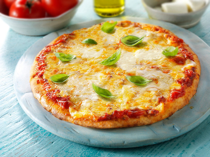 Pizza topped with  3 cheeses, & basil.n A Margarita Neopolitan Pizza photos. Funky Stock pizzas photos