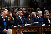From left, President Donald Trump, first lady Melania Trump, former President Barack Obama, Michelle Obama, former President Bill Clinton and former Secretary of State Hillary Clinton listen during a State Funeral at the National Cathedral, Wednesday, Dec. 5, 2018, in Washington, for former President George H.W. Bush.<br /> Credit: Alex Brandon / Pool via CNP