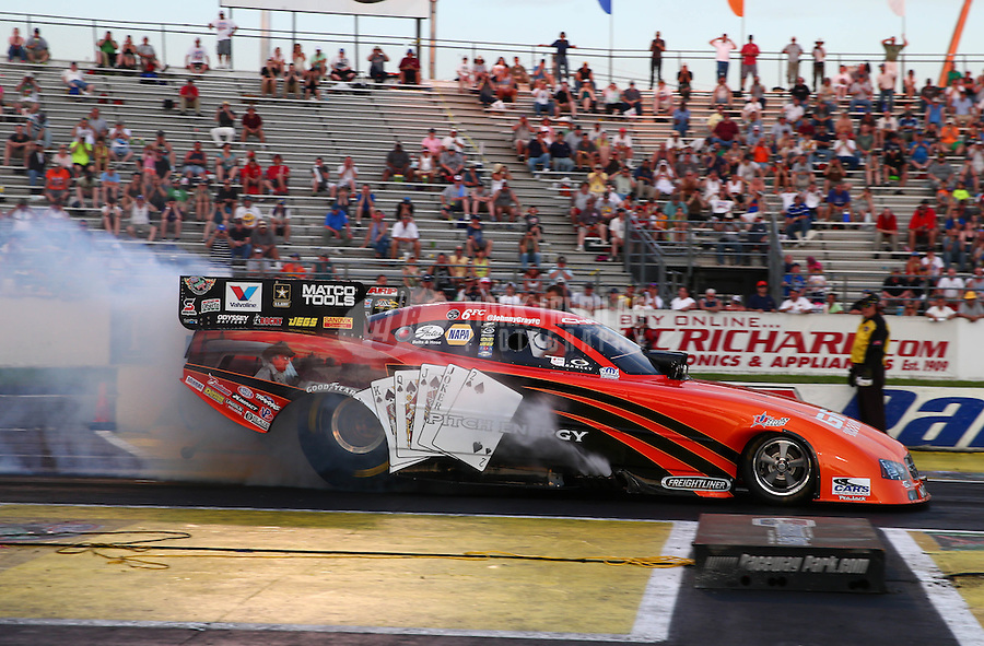 May 31, 2013; Englishtown, NJ, USA: NHRA funny car driver Johnny Gray during qualifying for the Summer Nationals at Raceway Park. Mandatory Credit: Mark J. Rebilas-