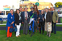 Connections of Swift and Sure in the winners enclosure after winning The Excalibur Communications EBF Fillies' Novice Stakes during Twilight Racing at Salisbury Racecourse on 14th September 2018