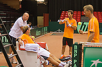 09-09-13,Netherlands, Groningen,  Martini Plaza, Tennis, DavisCup Netherlands-Austria, DavisCup,   Thiemo de Bakker and coach Raymond Knaap (NED) (L) jean-Julien Rojer and Captain Jan Siemerink(R)<br /> Photo: Henk Koster