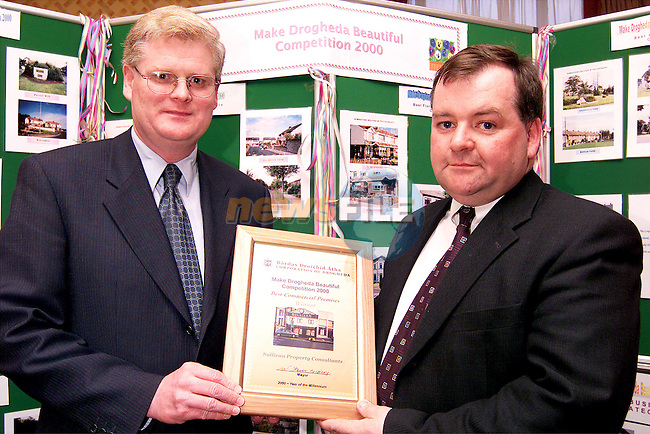 Fintan Sullivan of Sullivan Property Consultants accepting the award, from deputy mayor Frank Maher, for Best Commercial Premises (other than retail) at the Make Drogheda Beautiful Competition 2000 which was held in the Westcourt Hotel..Picture: Paul Mohan/Newsfile