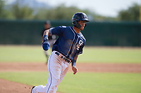 San Diego Padres outfielder Tre Carter (13) rounds third base during an Instructional League game against the Chicago White Sox on September 26, 2017 at Camelback Ranch in Glendale, Arizona. (Zachary Lucy/Four Seam Images)