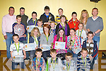 Sliabh Luachra Boxing club members who was honoured at the annual awards in Scartaglen on Saturday front row l-r: Bran Griffin, Jordon Coffey, Eddie O'Shea, JJ O'Connor. Middle row: Dylan O'Connor, Grace O'Sullivan, Sarah McCarthy, Kayla Sheahan-Murphy, Tara Fitzgerald, Dean Griffin. Third row: Brandon Murphy, Paul Brown, Ava Fitzmaurice, Laura Fitzmaurice, Holly Ann Smith. Back row: John O'Connell, Paul Griffin, Jack Browne, Adam O'Brien, Eoin Fitzgerald, Eoin Brown, Jennifer Coffey and Eddie O'Shea..